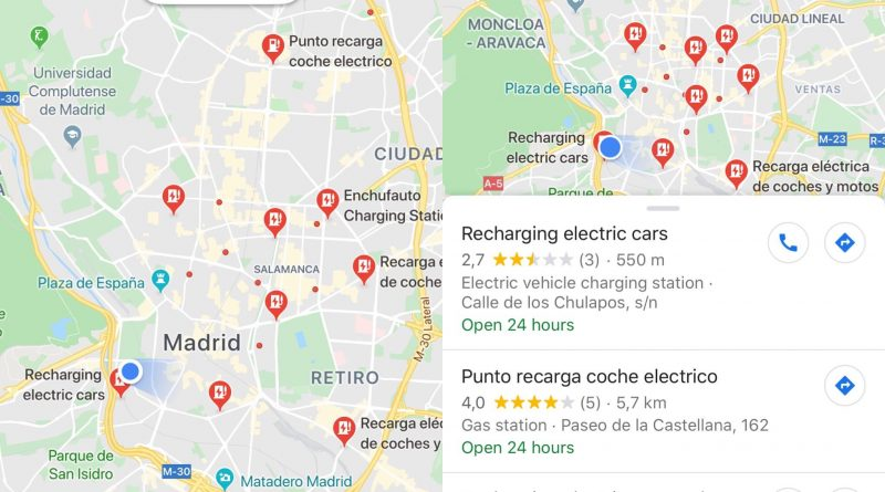 google maps recarga de coches electrico